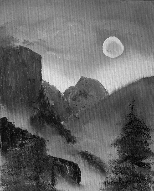 Yosemite valley in moonlight
