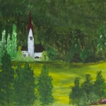 Countryside Church with Red Steeple
