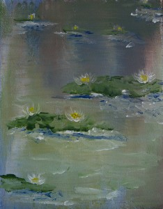 White Lilies in a Green pond