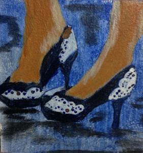 lacy blue heels